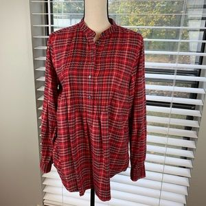 Land's End red plaid top women's size 12